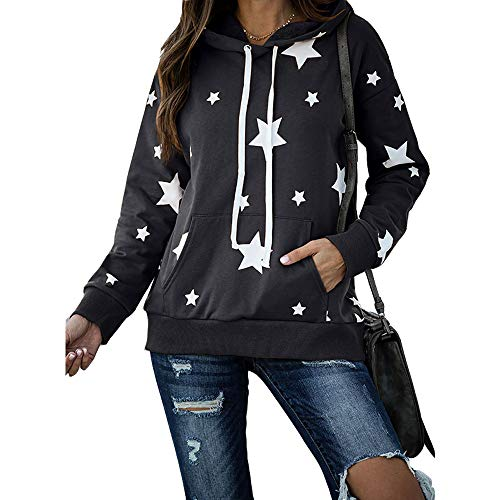 CTMY Women's Shirts Five-Pointed Star Printed Long Sleeve Pocket Drawstring Blouse Tops Pullover Hooded (3XL, Dark Gray)