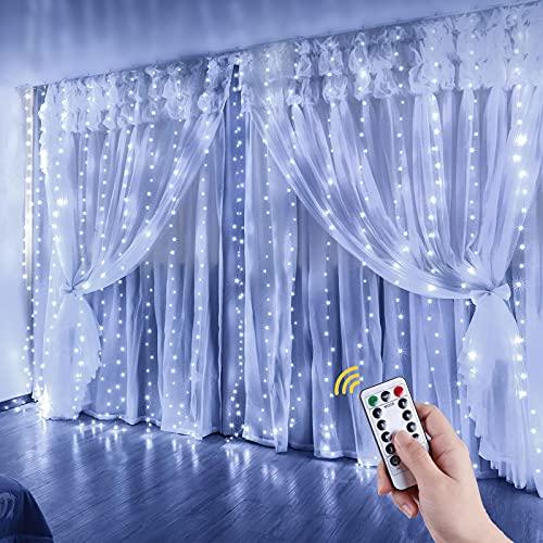 Anpro Luz de cortina LED, USB DC5V Fuente de alimentación 300 LED Luz de cortina blanca fría, 3 * 3 metros con control remoto 8 modos de luz Luces de cadena LED, Fiesta de bodas Toda la decoración