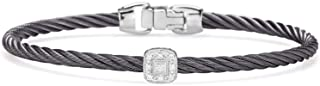 ALOR Steel Grey Cable Essential Stackable Bracelet with Single Square Diamond Station Set in 18kt White Gold