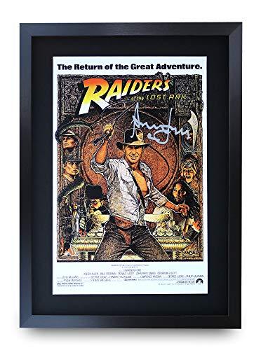 HWC Trading Indiana Jones Raiders of The Lost Ark A3 Incorniciato Firmato Regalo Visualizzazione delle Foto Print Immagine Autografo Stampato per Harrison Ford Gli Appassionati di Cinema