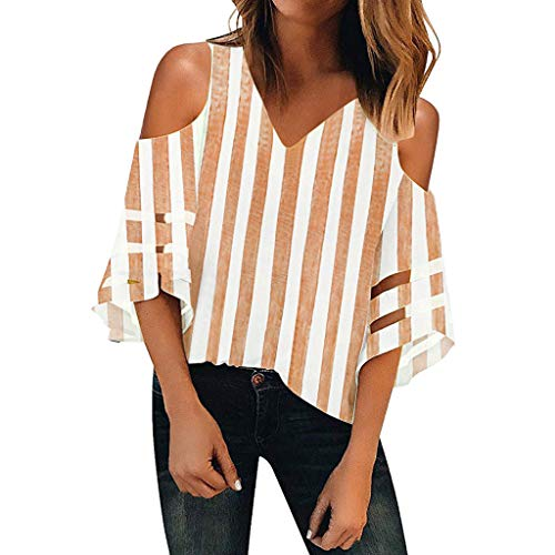 Best Deals! NANTE Top Loose Women's Stripe Print T-Shirt Mesh Panel Tee Shirts Cold Shoulder V Neck ...