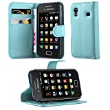 Cadorabo Hülle für Samsung Galaxy ACE 1 - Hülle in Pastel BLAU – Handyhülle mit Kartenfach & Standfunktion - Hülle Cover Schutzhülle Etui Tasche Book Klapp Style