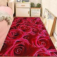 おしゃれ リビング 屋内 柔らかいラグ ふわふわ肌触り 洗える ラグマット 抗菌防臭 滑り止め付 防塵じゅうたん 折り畳み可能 居間用 家庭用カーペット オールシーズン使えます -赤いバラ_60x160 cm