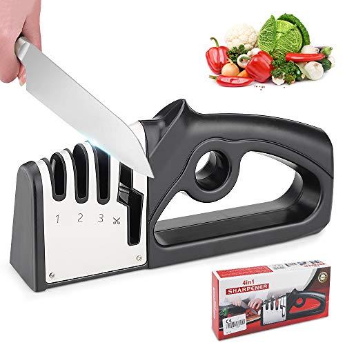Afilador Cuchillos Profesional, 4 en 1 Knife Sharpener Amoladora De Cocina Kit Knife Sharpener, Afilado Pulido para Afilar Navajas y Tijeras de Embotados Muy Afilados, Manual Afilador