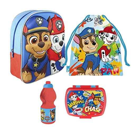 Kids4shop Paw Patrol 4 Teile Set 3D Rucksack Kindergarten Tasche Hund Turnbeutel Brotdose Trinkflasche