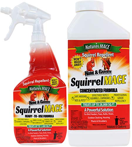 Nature's Mace Squirrel Repellent 40oz Spray & Concentrate/Covers 29,400 Sq....
