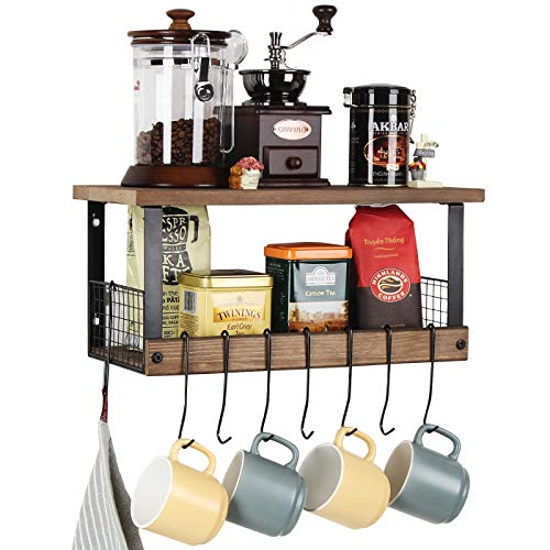 JackCubeDesign Rustic Torched Wood Kitchen Storage Shelf Wall Mount Organizer Stand with 8 Hanging Removable Hooks and 2 Shelves