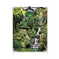 クリップボードメモ型サイズ低プロファイルクリップ 国の家の装飾 学者スケッチ描画ボード アジアスタイルの庭の樹木樹の木の茂みの紅葉岩水景画像緑白の池