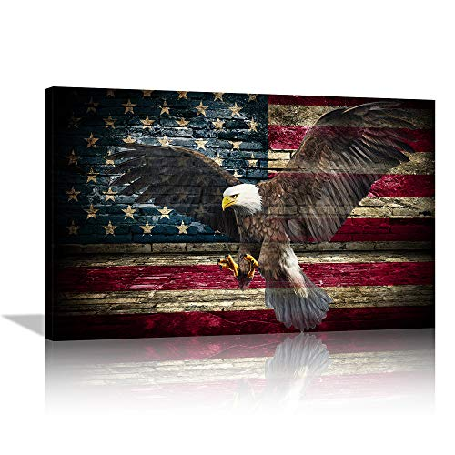 Retro American flag Bald Eagle Spread Wings Canvas Wall Art Retro Eagle Prints Patriotic Concept Painting Home Decor for Living Room Bedroom Painting Framed Ready to Hang