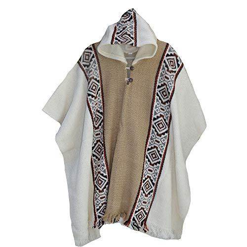 Wigwam Poncho aus 100 % Wolle, in Südamerika, handgefertigt beige Einheitsgröße