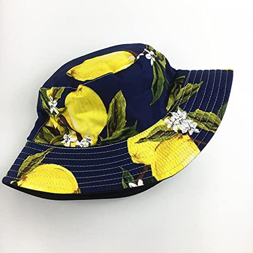 Gorra Redonda Gorro Pescador Algodón Doble Cara Fruta Piña Banana Bucket Hat Sombrero Pescador Sombrero Viaje al Aire Libre Gorra para el Sol Sombreros para Hombres y Mujeres Regalos para Mujer-1