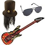 German Trendseller® Guitar Hero - Kostüm - Set Deluxe ┃Rockstar Hut + Haare + Flammen Gitarre +...