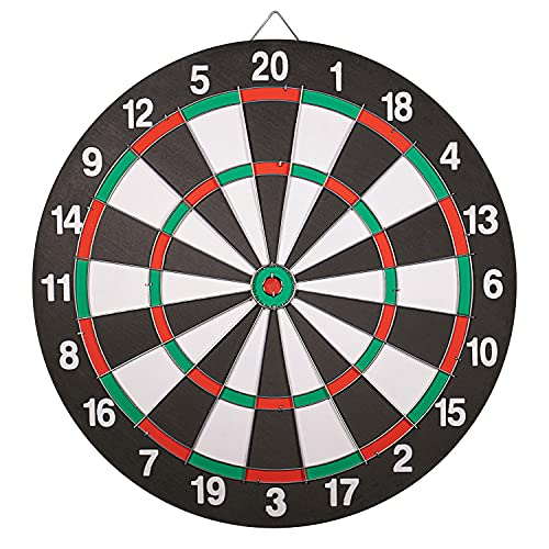 Dart board Set-Double-Sided Usable 15 Inch Dartboard Game With 6 Brass-Plastic Darts Man Cave Stuff For Adults And Teens For Bars, Arcades, Billiard Rooms, Party, Office And Family Leisure Sport