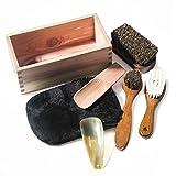 RooLee 靴磨きセット シューケアセット 靴ケア用品 シューケアキット 7点セット 馬毛ブラシ×2、ウールブラシ×1、木製靴べら×1、牛角靴べら×1、ムートングローブクロス×1、収納木箱×1