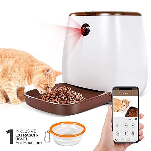 Masthome Futterspender Katze 2,5kg,Automatischer Futterspender für Hund und Katze,Programmierbarer Pet Feeder Intelligent mit Sprachaufnahmen Funktion und Timer und App Steuerung,WiFi unterstützt