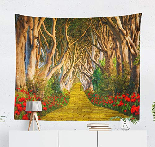 Soopat Scary Forest Tapestry Polyester Fabric Yellow Brick Road Scary Forest Dark Red Flowers Wall Hanging Tapestry Decorations for Bedroom Living Room Dorm 60X50 inch
