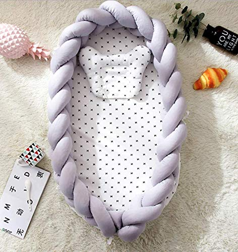 BI-9 ベッドインベッド 三つ編みクッション(防水シーツ付き) サイドガード 結び目 ベビー布団 添い寝ベッド おむつ換え ベビーベッド ベッドガード クーファン 取り外し 洗える可能 枕付き (グレー)