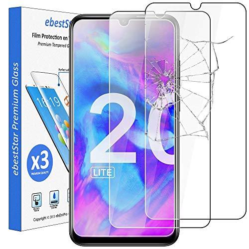 ebestStar - [Lote x3 Cristal Templado Compatible con Honor 20 Lite Protector de Pantalla, Película Vidrio Protectora Ultrafina, Dureza 9H, Sin-Burbujas [Phone: 154.8 x 73.6 x 8mm, 6.21'']