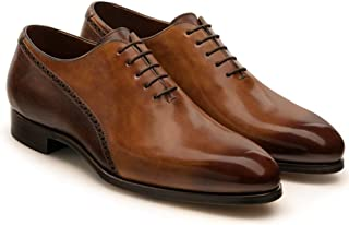 Costoso Italiano Tan & Brown Leather Formal Lace Up Brogue Oxford Shoes for Men