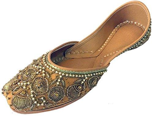 Schritt N Style Frauen Khussa Schuhe Panjabi Jutti Kupfer Zari & Perlen Arbeit Mojari, Mehrfarbig - Größe: 36