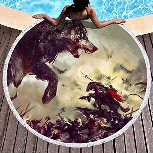 Toalla de Playa Redonda Gruesa con Estampado de Arte de Batalla de Lobo Guerrero Odin Vikingo nórdico Vintage con borlas étnicas de 59 Pulgadas
