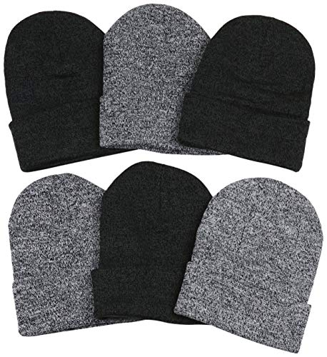ToBeInStyle Men's Pack of 6 Soft Stretchy Beanies - Marled