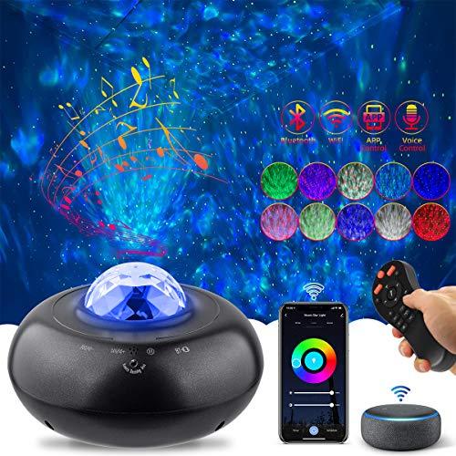 LED Sternenlicht Projektor, AsperX Galaxy Projektionslampe mit Wasserwellen effekt, Ferngesteuerte Nachtlichter mit Bluetooth&Timer, Perfekt für Party Weihnachten Zimmer Deko