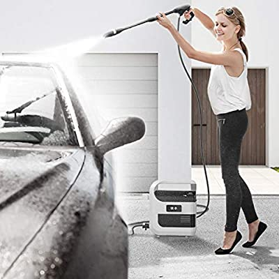 Electric Pressure Washer Full Copper 50bar 3L/min Flow - 350W Compact And Portable Wireless Car Washing Machine Charging Mode IPX5 Waterproofing System Small Pressure Washer,Apackage-41*28*42CM by QXMEI