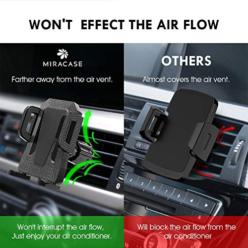 Air Vent Phone Holder for Car,Miracase Universal Vehicle Cell Phone Mount Cradle with Adjustable Clip Compatible with iPhone 11 Pro Max/XR/XS Max/XS/X/8/8 Plus/7/7P,Galaxy S10/S10+/S9/Note 9 and More