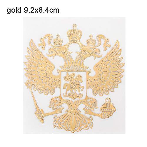 Neue Auto - Aufkleber Laptop - Aufkleber Laptop föderation Adler. Nickel - Metall - Aufkleber Wappen russlands(9.2x8.4cm,Gold)