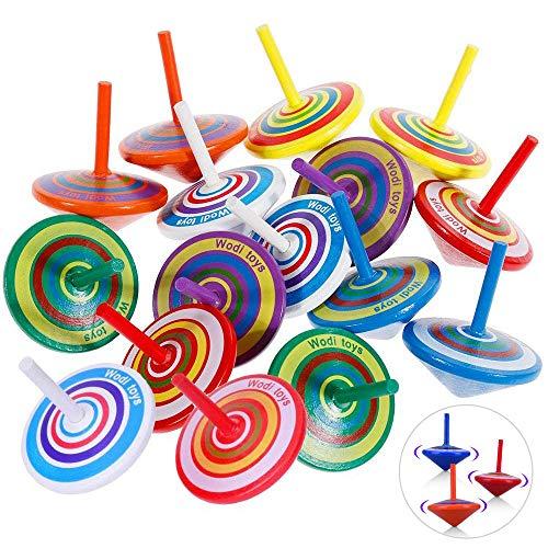 Trottola di Legno, Liershine 30 Pezzi Trottola Colorata Set Artigianale, Set di Superficie Artigianale Non Tossico per Bambini Party Toy 4 * 4,5 Cm