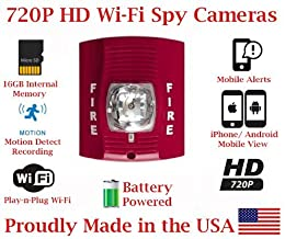 SecureGuard 1080P HD WiFi Battery Powered Wireless IP Fire Alarm Strobe Light Hidden Security Nanny Cam Spy Camera with 16GB Memory (24 Hour Red)