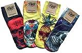 Viper Fashion Socks-Bonehead 4er Set (Paare), witzige, originelle Socken mit Totenköpfe in Farbe