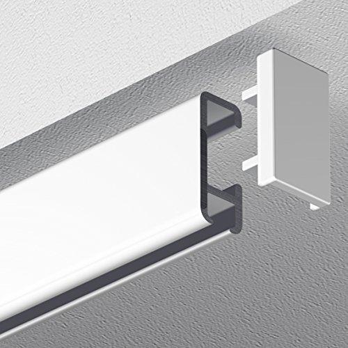 Garduna 240cm Bilderschiene Galerieschiene Schleuderschiene, Aluminium, Weiss, Glatte, glänzende Oberfläche, 1-läufig (2 x 120cm inkl. Verbinder)