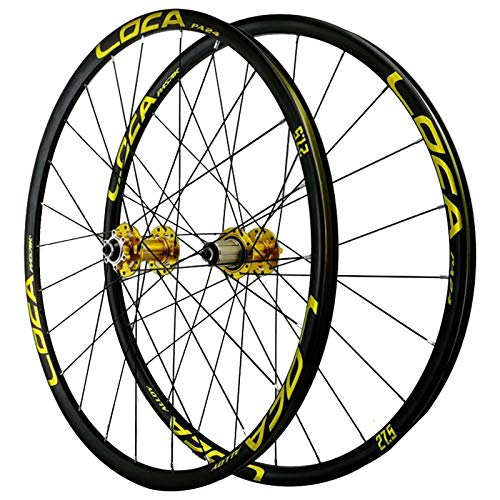 ZNND 26/27,5 Pulgadas Rueda para Bicicletas,Pared Doble 4 Rodamiento Peilin Liberación Rápida Freno de Disco Juego de Ruedas de Montaña (Color : Yellow, Size : 26in)