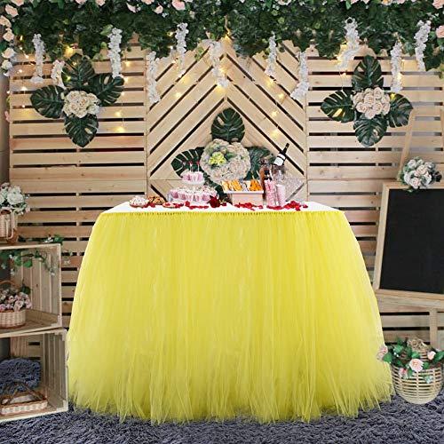 DishyKooker Einfarbig Tisch Rock Dekoration für Hotel Hochzeit Weihnachtsfeier 80cmx91,5 cm Gelb Haushalt
