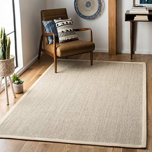 Safavieh Natural Fiber Collection NF143C Border Sisal Area Rug 8 x 10 Marble Beige product image