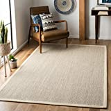Safavieh Natural Fiber Collection NF143C Border Sisal Area Rug, 8' x 10', Marble / Beige