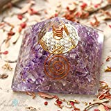 Healing Chakra Pyramid for EMF Protection & stress relief | Amethyst ORGONE Energy Generator device with FLOWER OF LIFE for Prosperity, abundance- Tesla Coil and Quartz Point for meditation.