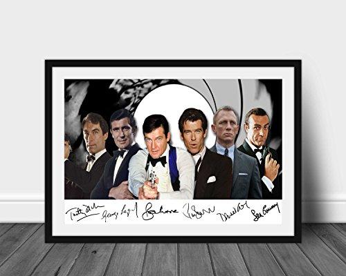 James Bond 007 Actors signierter Druck A4 (nur Poster mit englischer Aufschrift)