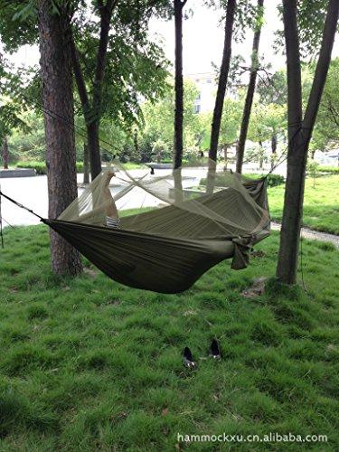 Enjoydeal Hamac de camping/randonnée en toile de parachute haute ténacité avec moustiquaire Army Green Dimensions : environ 250 x 120 cm