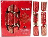Toyland 10 Crackers de en Or Rouge et doré