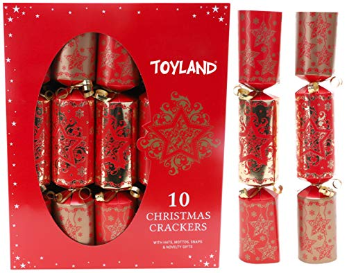Toyland 10 Deluxe Red & Gold Cracker Natale