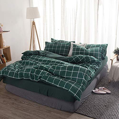 BH-JJSMGS Ropa de Cama, Funda nórdica a Rayas y Funda de Almohada - sábanas, Rejilla Verde 150 * 200 cm