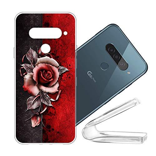vingarshern Handyhülle LG G8S ThinQ Hülle Silikon Bumper Hülle,Dünne Flex Weich Fallschutz Stoßfest Schutz Cover LG G8S ThinQ Schutzhülle Silikonhülle Mit Muster,Rose (Rote)