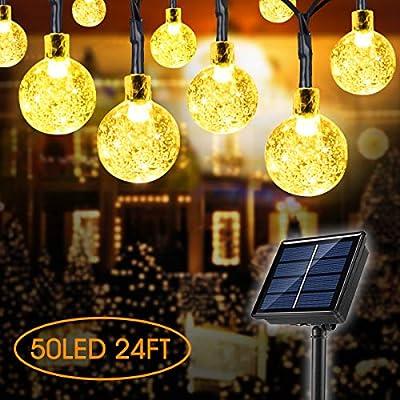 Lamantt Globe Solar String Lights,50 LED 24ft 8 Modes Waterproof String Lights,Indoor/Outdoor Fairy Lights Globe Crystal Balls for Garden Yard Home Party Wedding Christmas Festival Decoration