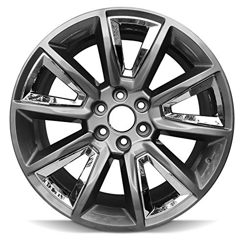 Road Ready Car Wheel For 2015-2019 Chevrolet Suburban 1500 Chevy Tahoe 22 Inch 6 Lug Black with Chrome Insert Aluminum Rim Fits R22 Tire - Exact OEM Replacement - Full-Size Spare