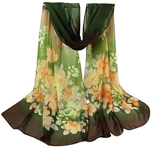 Shawl Wrap for Evening Dress,Fashion Lady Flower Long Wrap Women's Shawl Chiffon Scarf Scarves,Girls' Costume Accessories,Army Green