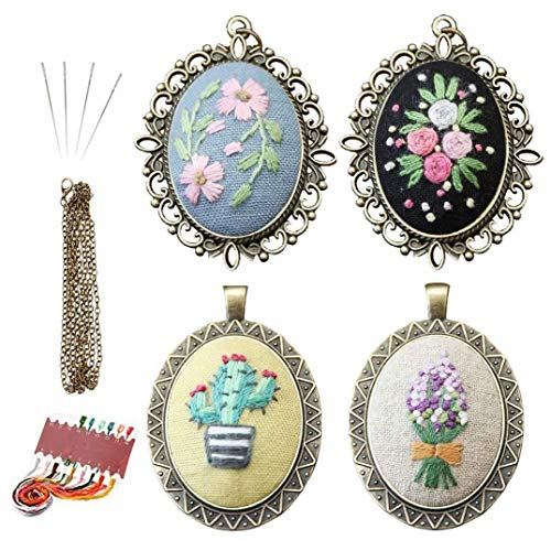 Queta Embroidery Kit for Beginners 4 Pcs, Embroidered Pendants Hand Sewing Necklace Earrings Pendants Floral Pattern Jewelry Necklace for DIY Art Crafts Sewing and Hanging with Making Instructions