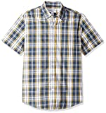 Amazon Essentials Men's Slim-Fit Short-Sleeve Plaid Casual Poplin Shirt, Navy/Gold, X-Small